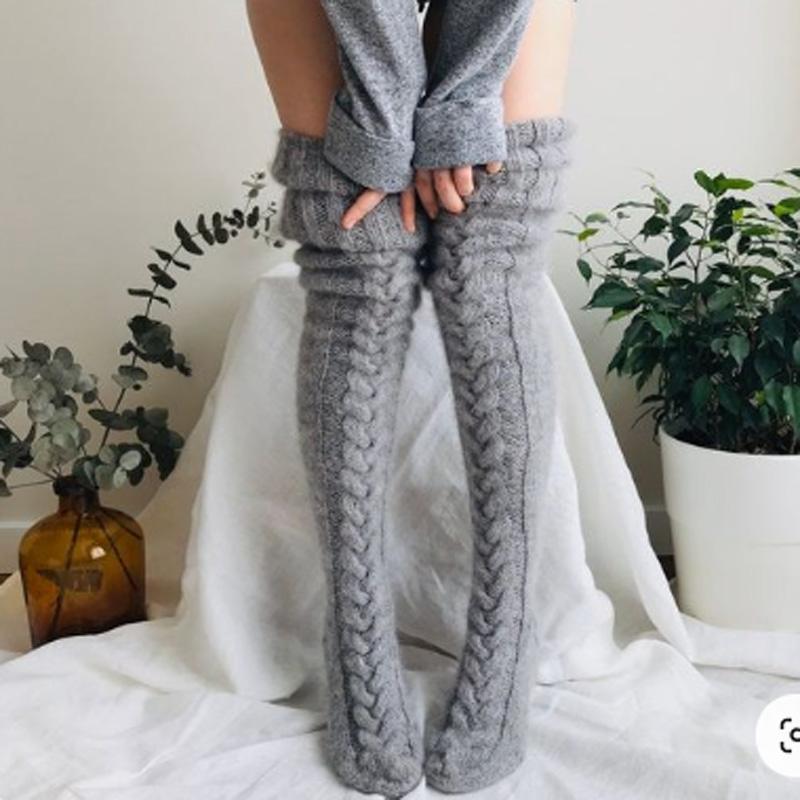 Pembe Sıcak Uyluk Yüksek Çorap Bayan Kız Yeni Moda Diz Çorap Kadınlar Kış Seksi Örme Uzun Çorap Kadınlar Uzun çorap için