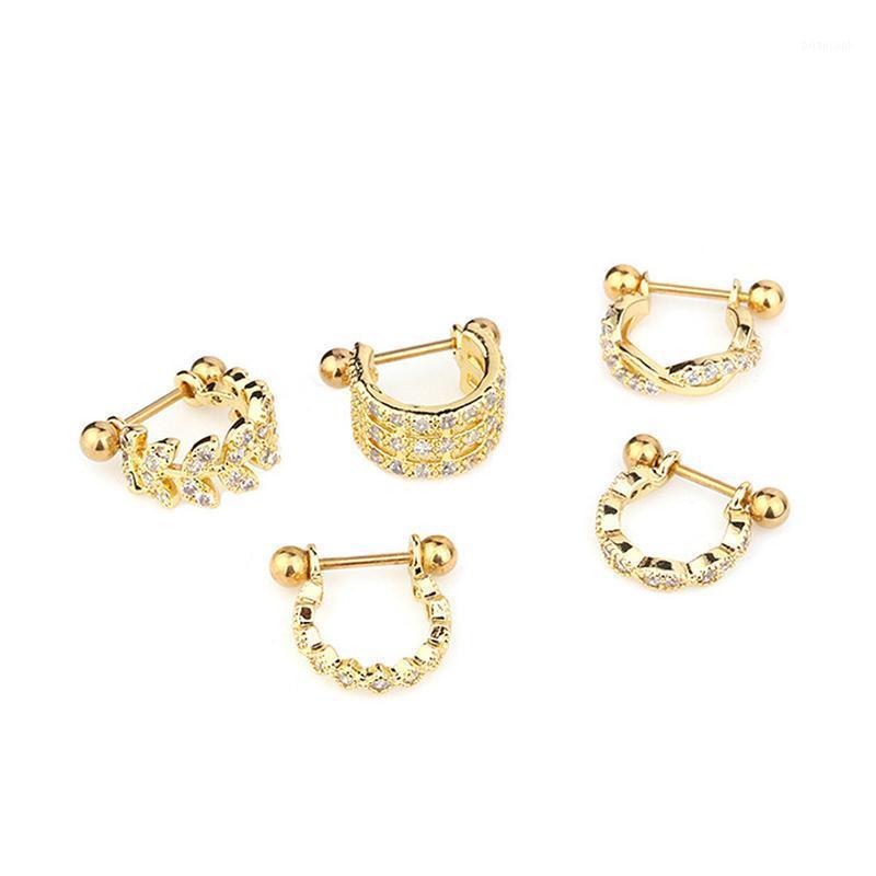 1 adet U tipi küpe halter kristal çember kulak piercing ile jewelry1 huggie