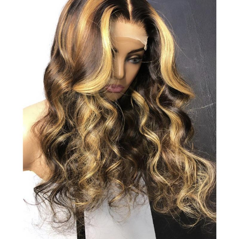 Resaltar frente de la peluca pelucas del pelo humano Cuerpo cordón de la onda peruana del pelo de Remy 13x6 Ombre Rubio miel y marrón peluca Resalte