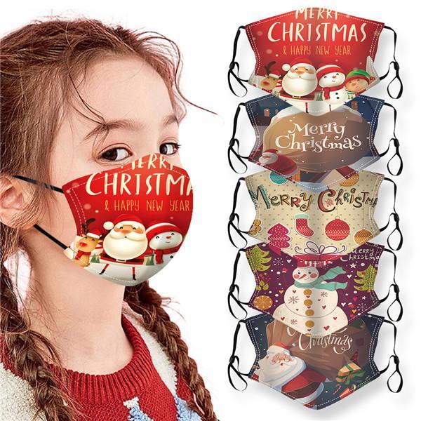Noel Partisi Maskeler Çocuklar Yıkanabilir Ayarlanabilir Koruyucu yüz maskeleri Noel kar tanesi Noel Baba Kardan Adam Baskılı Ağız Cover Maske