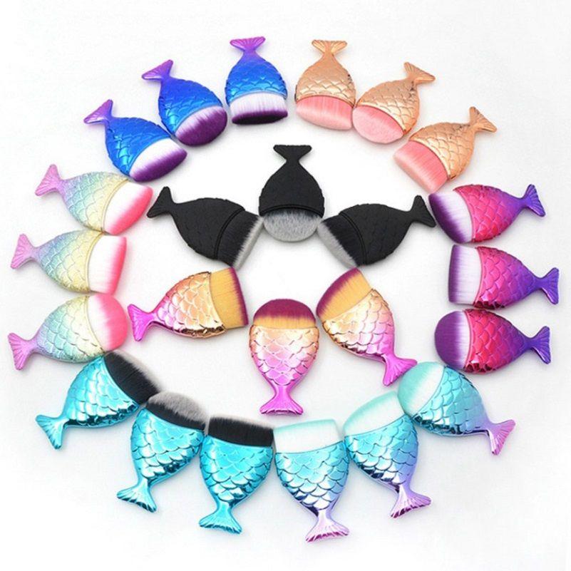 Pincel de maquillaje de maquillaje de sirena profesional Fundación Polvo Cosméticos Cepillos de pescado Herramientas 27 Colores