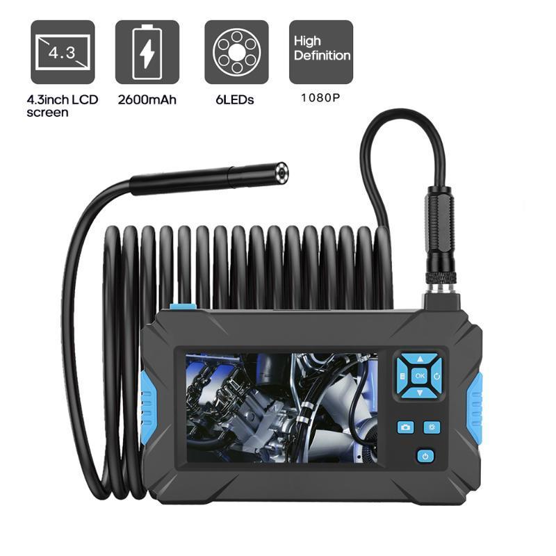 Tuyau voiture Endoscope industriel 1080P HD Borescope Inspect Caméra 5.5mm Endoscop Caméra Fflexible avec écran de 4,3 pouces 8 LED