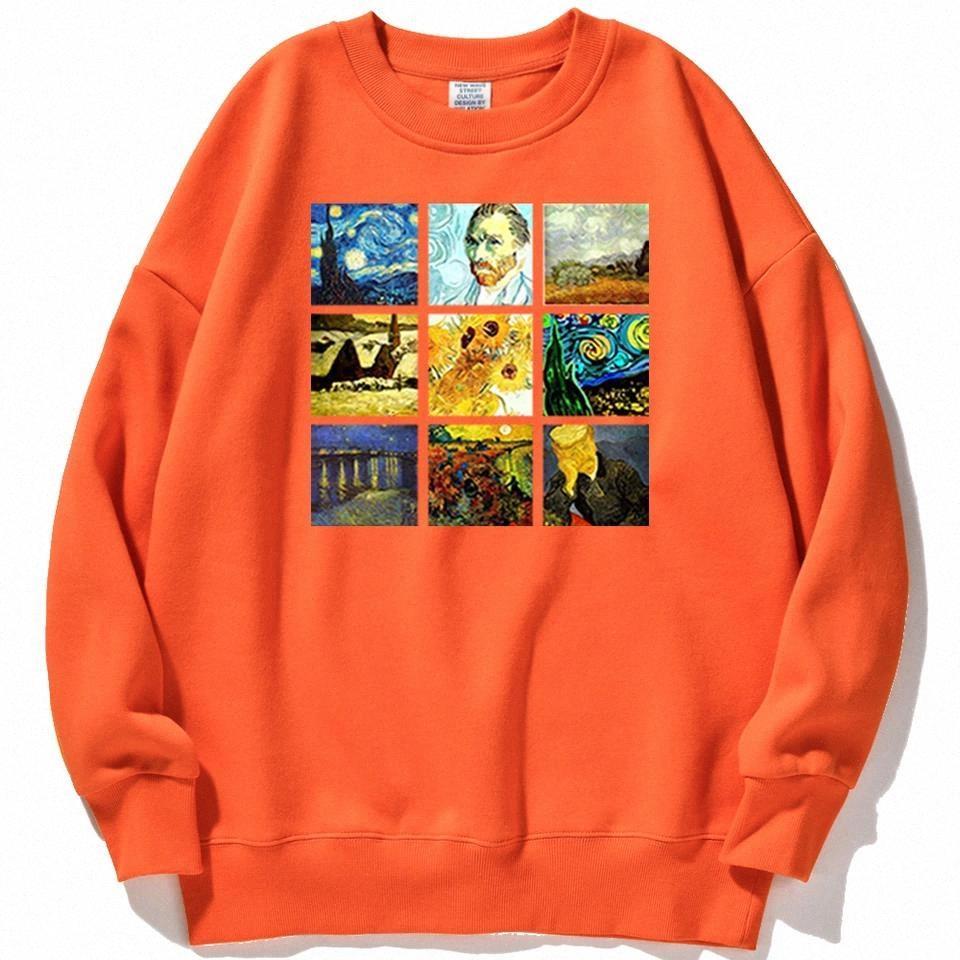 Van Gogh Works Sanskrit Печать Hoodie Женщины Пуловеры Hip Hop Streetwear Свободно Теплые толстовки Женские Осень Новые Моды Толстовки # M34Y