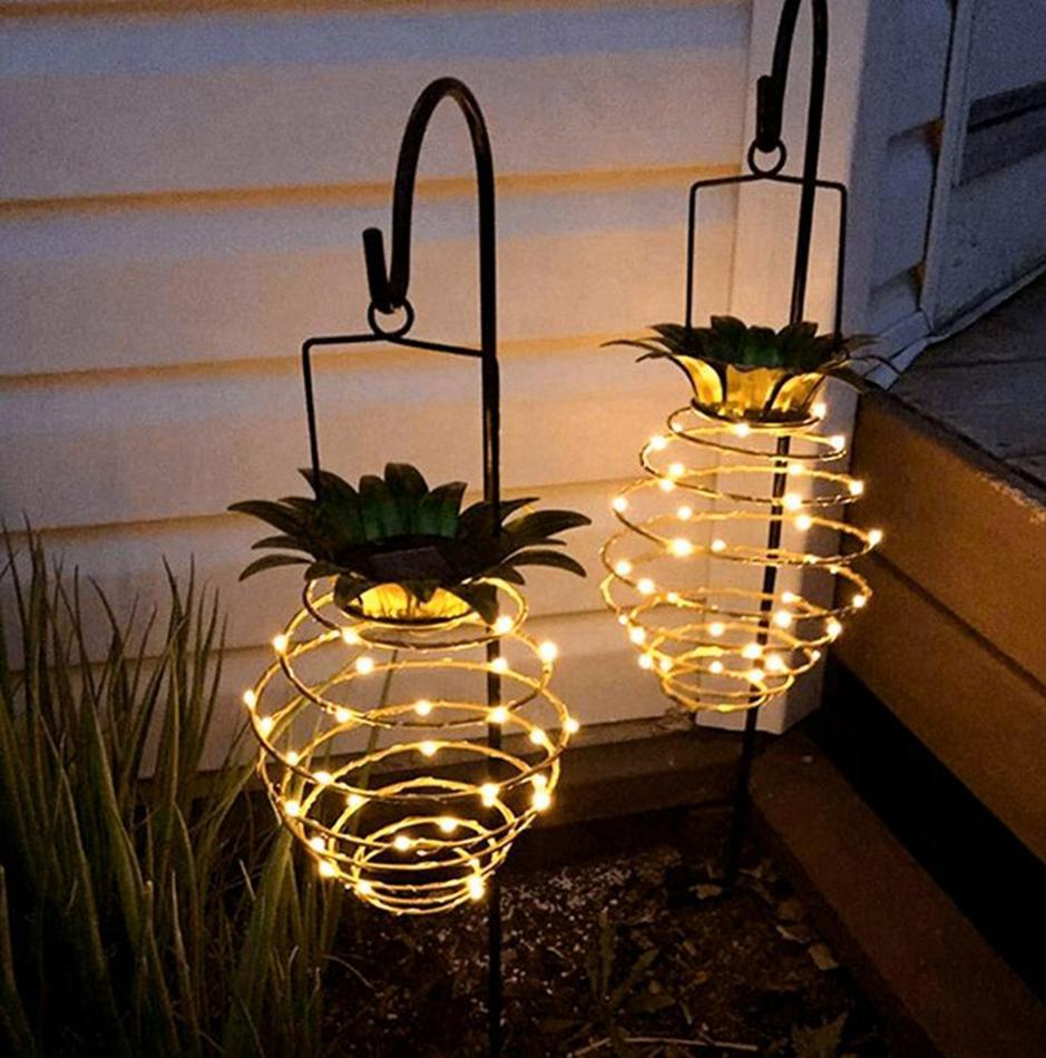 Solar Pineapple Lights 30light Hanging Solar Lights with Handle for Outdoor Indoor Garden Patio Yard Deck Night Lights KKA8122