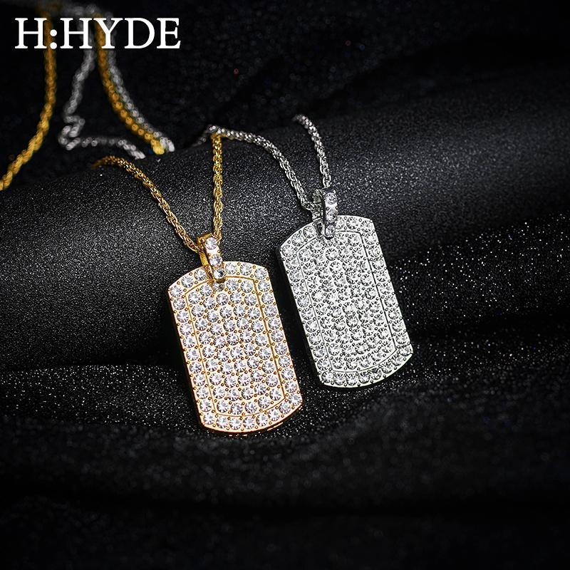 H: HYDE أزياء رجالي مجوهرات فاخرة مثلج كامل حجر الراين الذهب لون الفضة سحر ساحة قلادة الكوبية سلسلة الهيب هوب مجوهرات