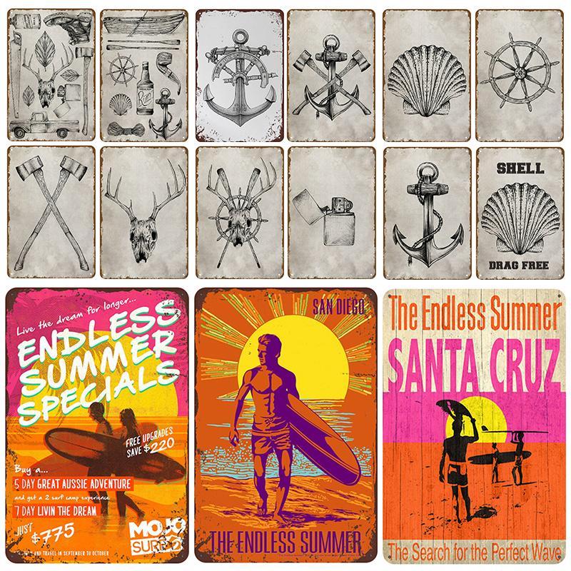 2021 Plaque d'été Métal Vintage Signe d'étain Pin Up Shabby Chic Decor Signes Vintage Bar Decoration Affiche en métal Plaque Plaque Mer Seaside Beach