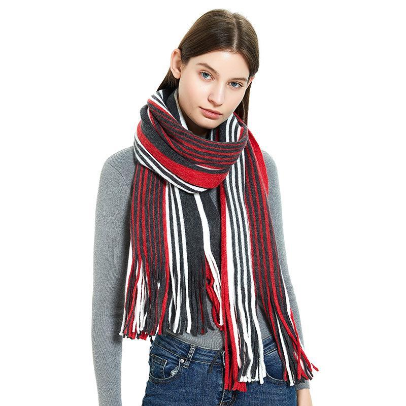 Осень зима полосатый прочистки шарф женщин мужчины длинные нагреться шарфы шеи шали Обертывания мода будет и песчаная новый