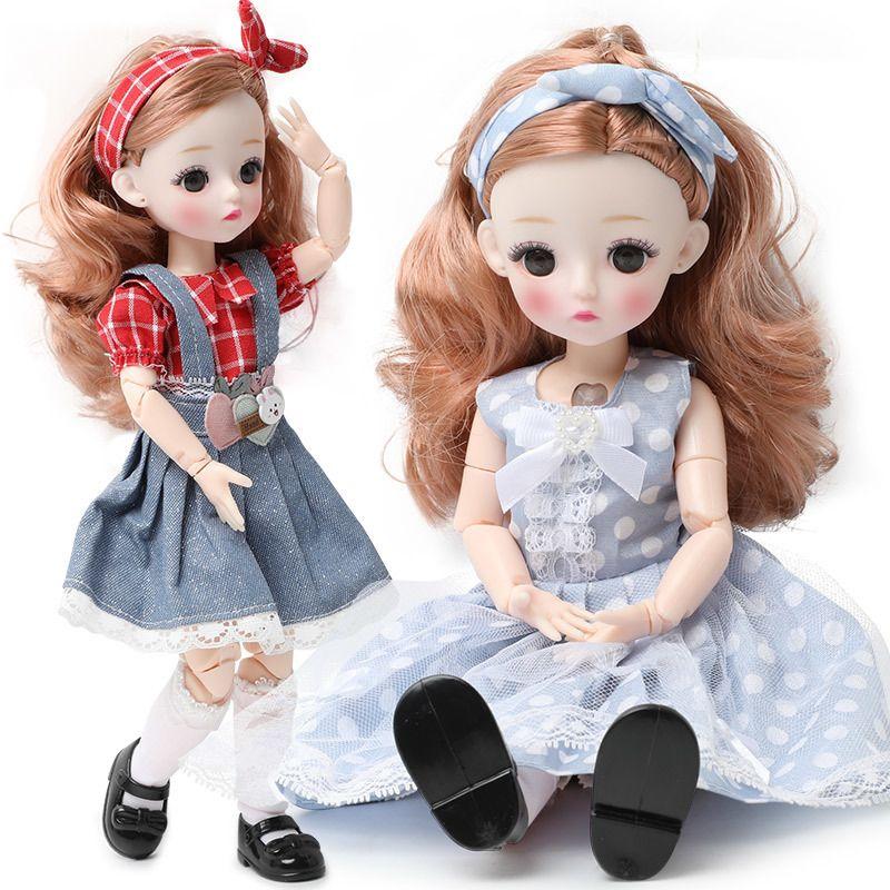 Nuevo 12 pulgadas 22 juntas móviles BJD Doll 30cm 1/6 Maquillaje Dress Up Linda muñecas de pelo largo con vestido de moda para juguetes para niñas 201203