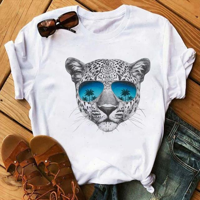 Womens T shirt Fashion Leopard with Sunglasses Tshirt Summer Cartoon Animal Short sleeved Shirt Female Tops Tees Drop Shipping