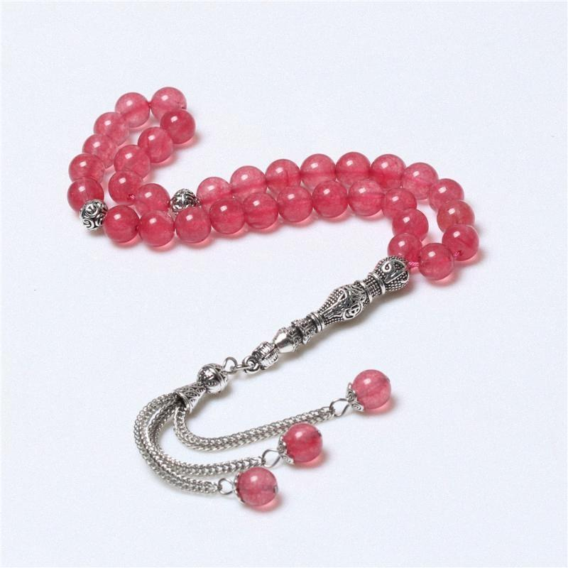 Оптовая фабрика Stock 8ммы Розового камень мусульманской Розарий Молитва исламской Beads тасбего A6OF #
