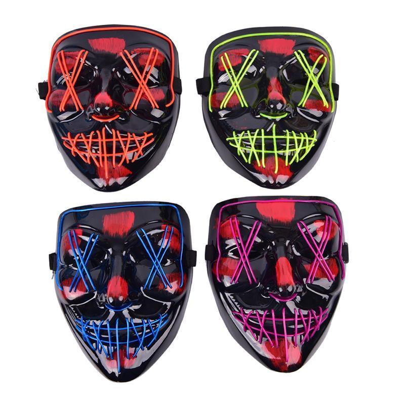 Halloween LED-Maske Cosplay Partei-Neonlicht-Up Masken Maskerade Karneval Kostüm Requisiten
