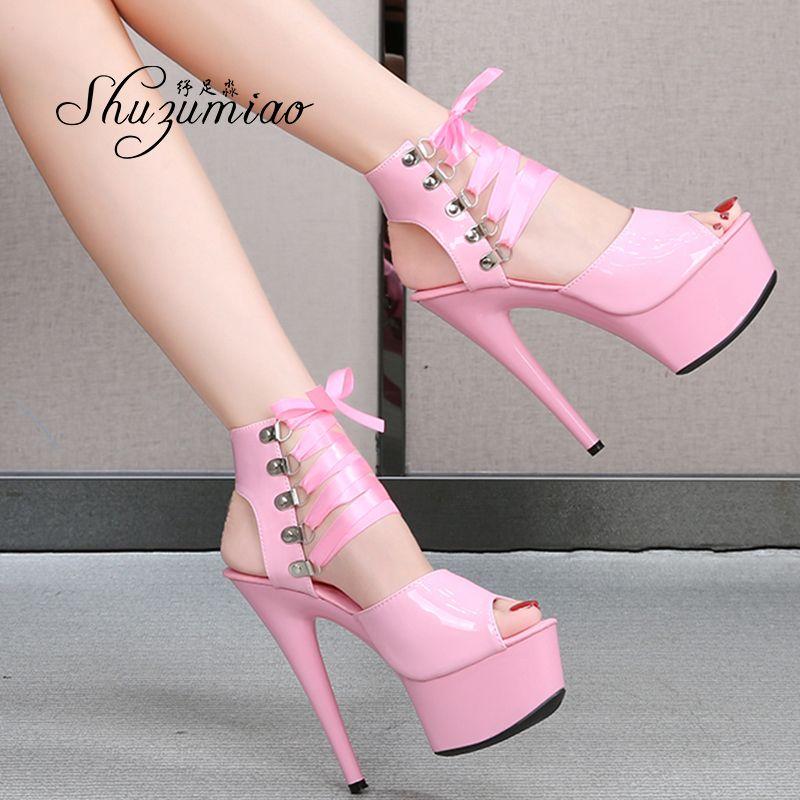 Kadın Yeni 2020 Kutup Dans Gladiato Marka 15 cm 17 cm 20 cm Yüksek Topuklu Bayan Sandalet Kalın Alt Stripper Ayakkabı
