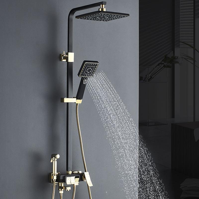 Matte preto do ouro do banheiro do banheiro do banheiro da chuva da chuva da chuva da chuva da chuva da parede Misturador ajustado