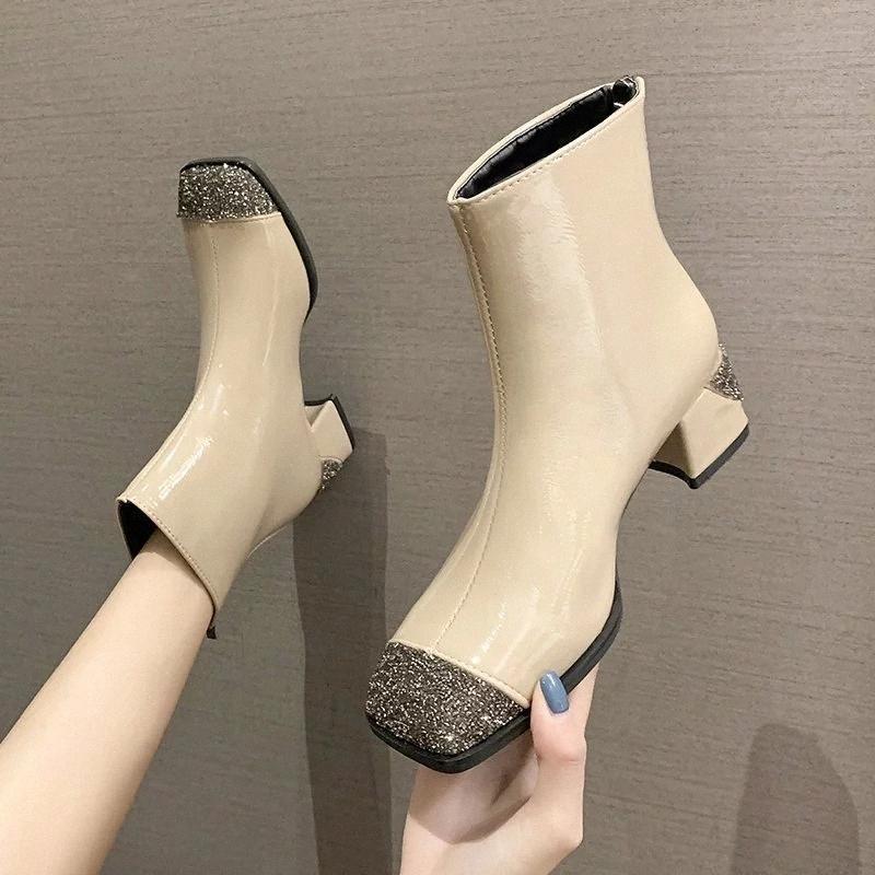 RIMOCY Sequins de luxe Femmes Pu Cuir Bottines Bottines 2020 Hiver Élégante Toe Carré Mid Heel Chaussures Femme Fashion Foowear Mesdames # Py4l