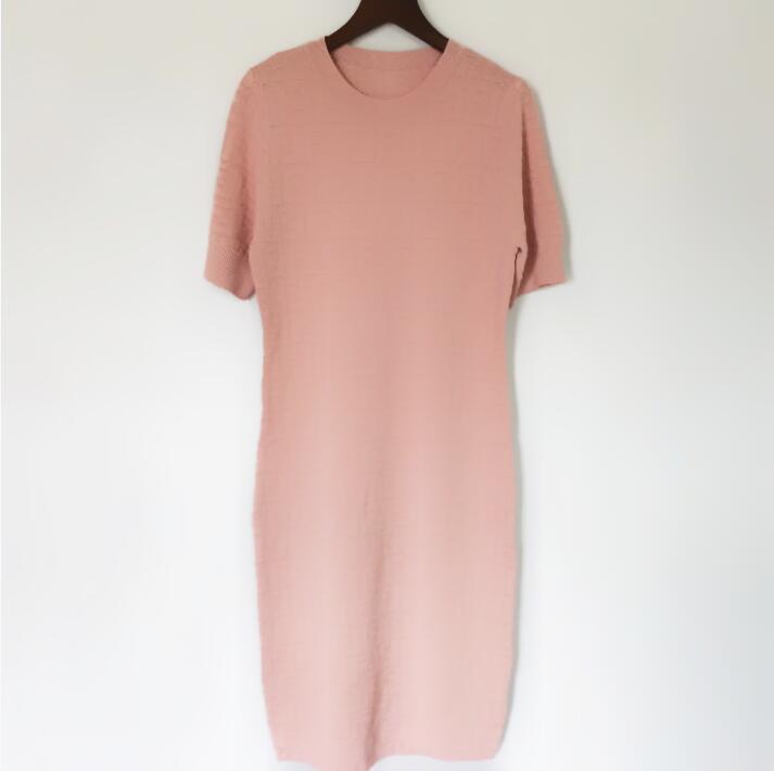 New High End Women Girls Girls Jacquard Camicia a maglia Dress Vestito da tutta la crepa a manica corta a manica corta Midi Bodycon Gonna Abiti Design