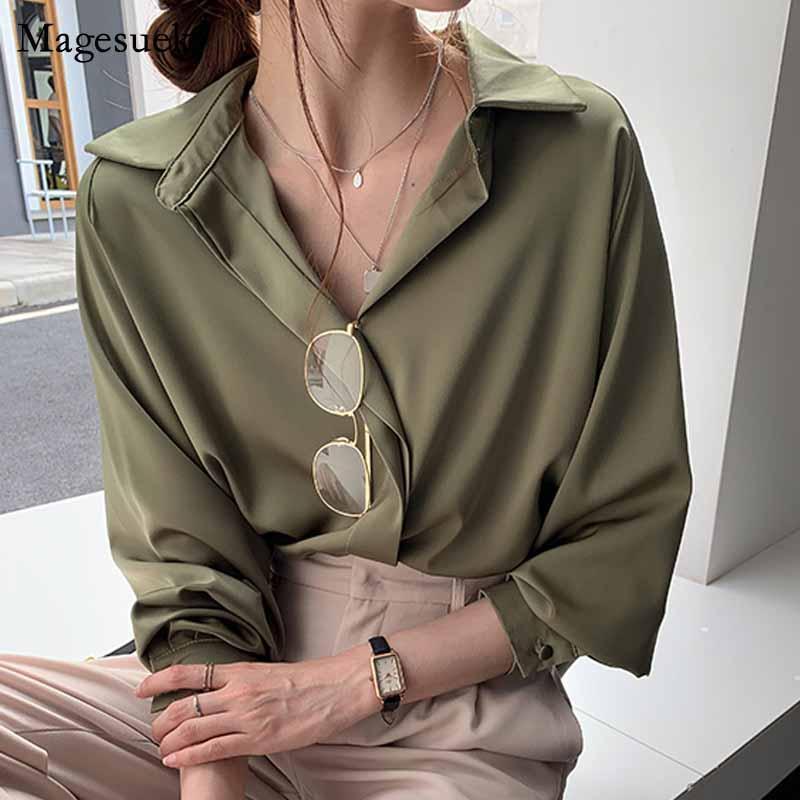 Plus Size Loose Hemd Herbst Solide Langarmkoreanische Kleidung Einfache Frauen Bluse 2020 Mode Frauen Blusen Weibliche 11193