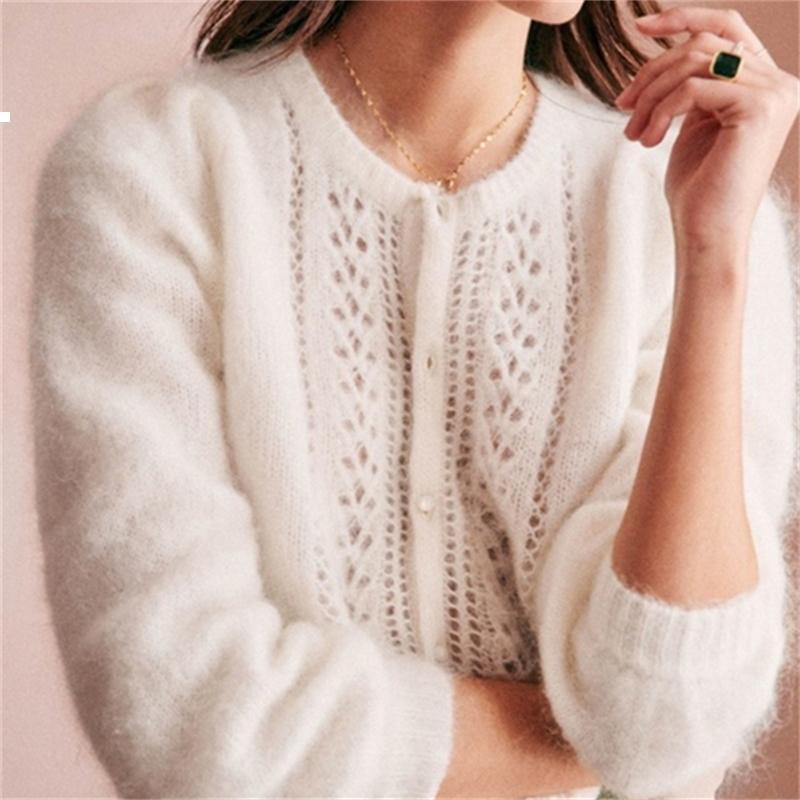 Новый Mohair 2021 фиолетовый дизайнер кардиган сетка свитер осенью женщина роскошная старинная одежда 6M6B 7JZ2