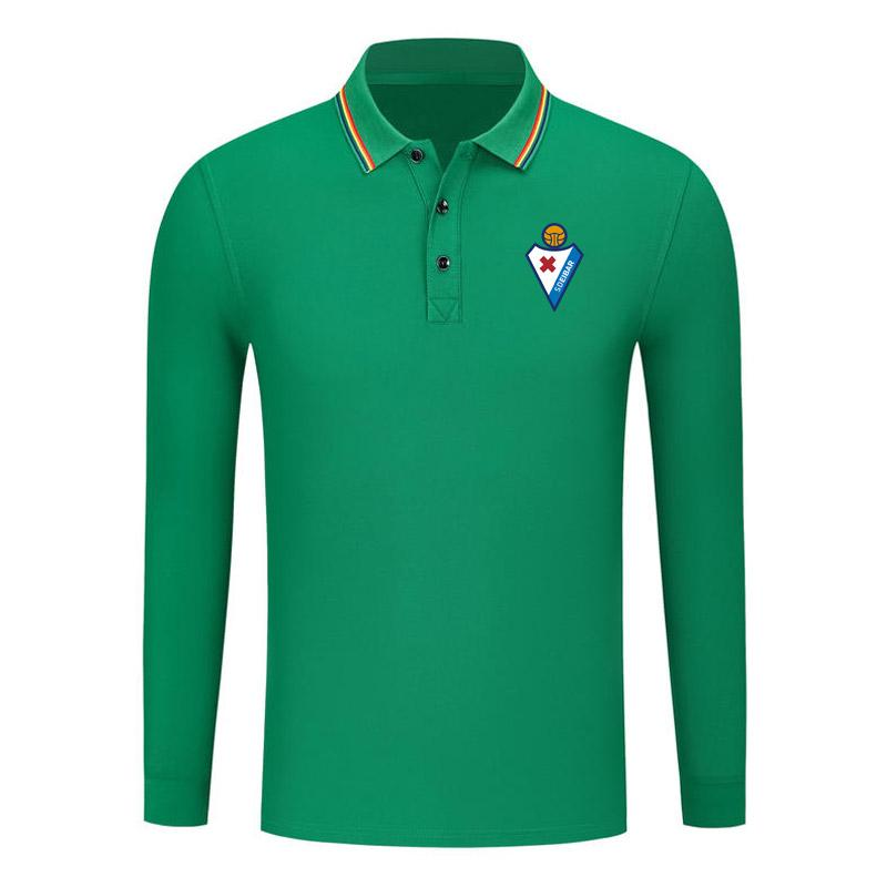 SD Eibar Queda New algodão camisa de manga comprida confortável Golf POLO manga comprida Moda Lapel manga comprida POLO Football Sports Shirt