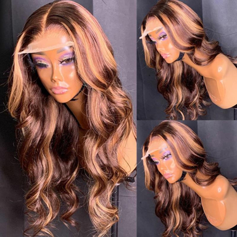 Las pelucas de pelo brasileño Honey Blonde destacado pelucas 13x6 frente del cordón de la onda del cuerpo humano pelucas de pelo Ombre