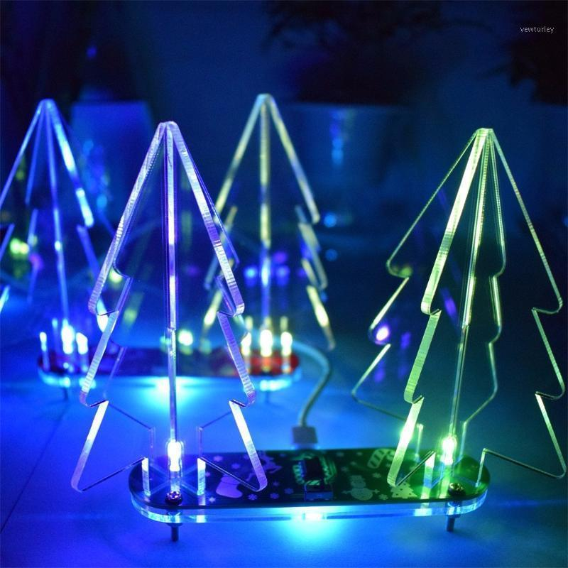 DIY Full Color Changing LED Acrylic 3D Christmas Tree Electronic Learning Kit Christmas Decorations For Home Accessories navidad1