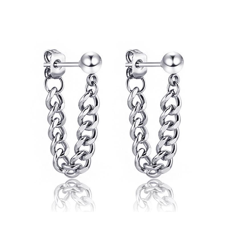 Homme Femme Mode Punk Rock Boucles d'oreilles (d'argent brillant, 2pcs) Petit BXG018 en acier inoxydable à billes en acier Dangle chaîne perlé tissé Accessoires
