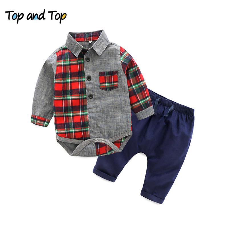 Top y Top Formal Baby Boy Gentleman Sets Ropa de algodón Ropa de bebé Camisa de manga larga Harlan Pantalones Baby Sumpsuits Set 201127
