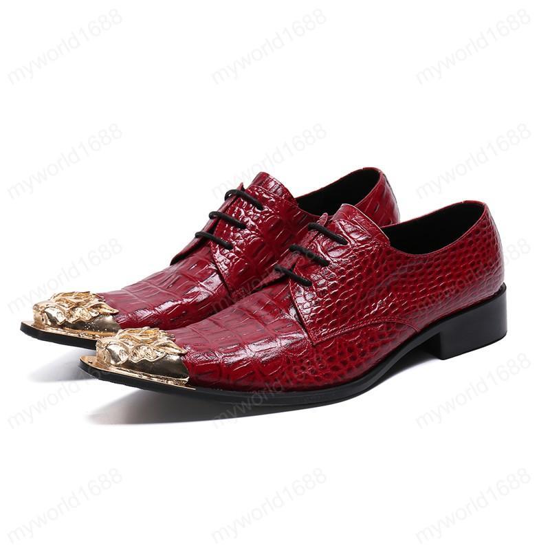 Large Size metallo a punta le dita dei piedi degli uomini di affari scarpe firmate cuoio genuino Formali Scarpe banchetto Abito da sposa
