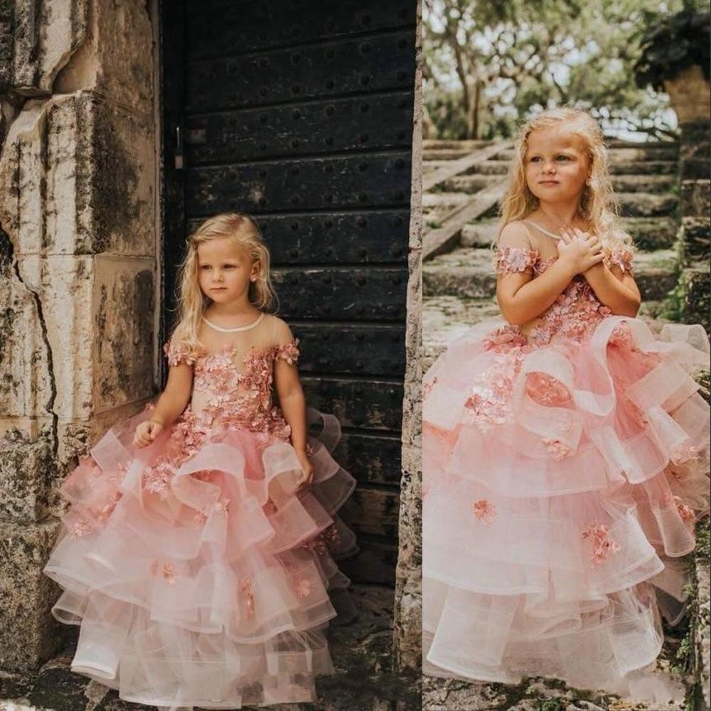 꽃 여자 드레스 짧은 소매 결혼식 핑크 레이스 아플리케 3D 꽃 꽃 꽃 러프 계층화 된 생일 소녀 친교 미인 가운
