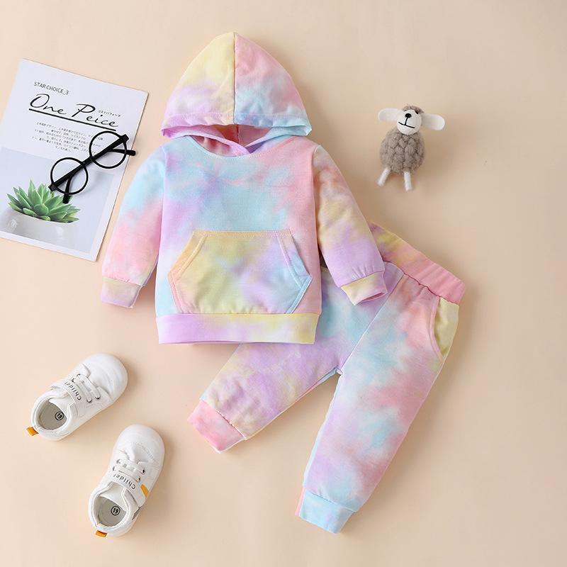 Abbigliamento per bambini Primavera Maglione per bambini Tie-Dye Baby Boy Cappuccio con cappuccio Pantaloni Bambini Pullover Abito da due pezzi Bambini Abiti casual