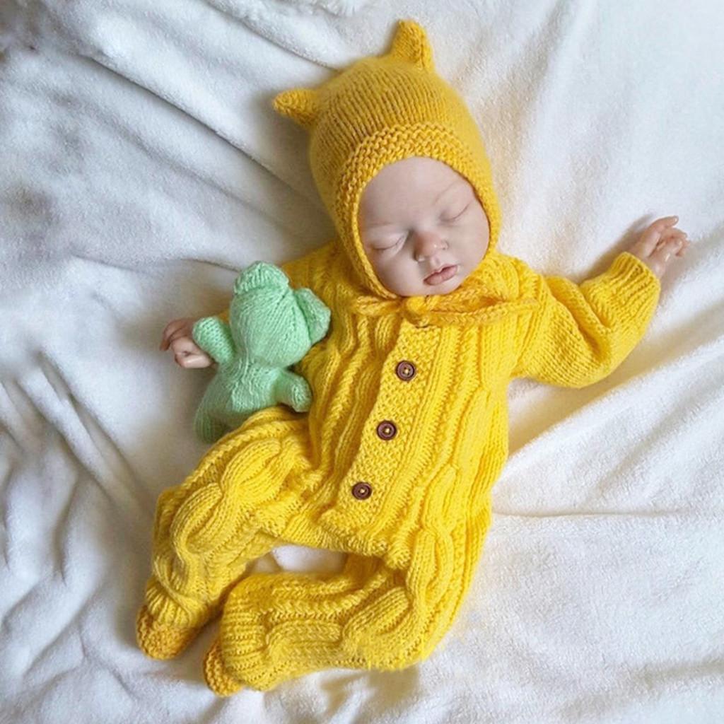 Şapka Çocuk Bebek Dış Giyim Bebek Rompers Kış Giyim Hırka 1024 ile Sıcak Bebek yenidoğan Erkek Bebek Kız Örme Triko Jumpsuit