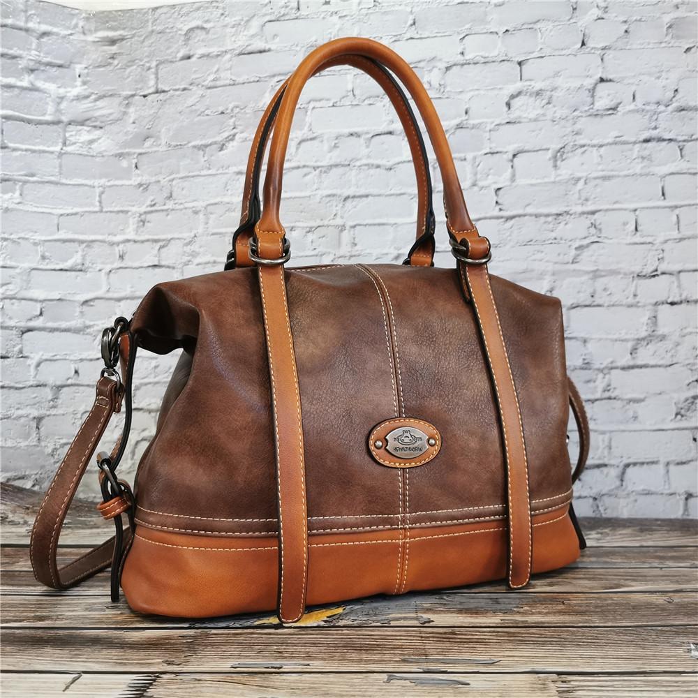 IMYOK Vintage-Handtasche Neue 2020 Ledertasche für Frauen-Dame Reisen Totes Handtasche der großen Kapazitäts-Schulter-Entwerfer Bolsa Femini Q1105