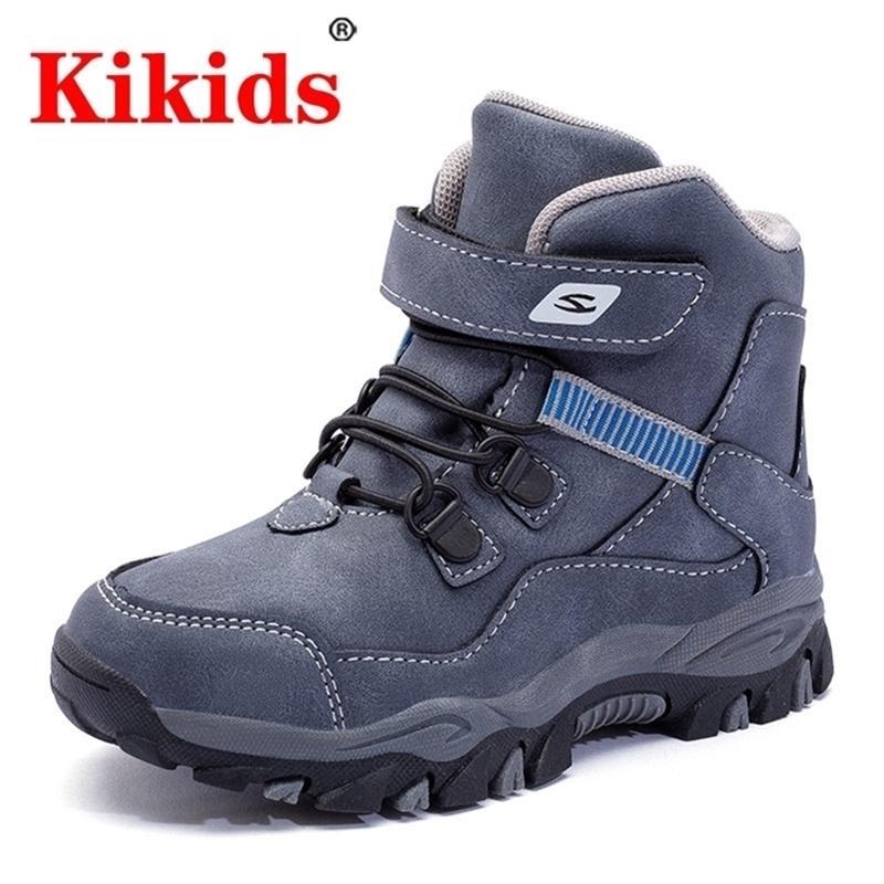 Kikids Новая детская обувь для мальчиков девочек дети Мартин армии кроссовки детские зима плоские теплые малыши сапоги с мехом 201225