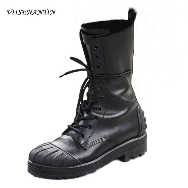 Europeu marca americana Designer de salto baixo ocidental das botas de vaqueiro Couro Lace Up Botas e bonito Mulheres Platform Mid-bezerro