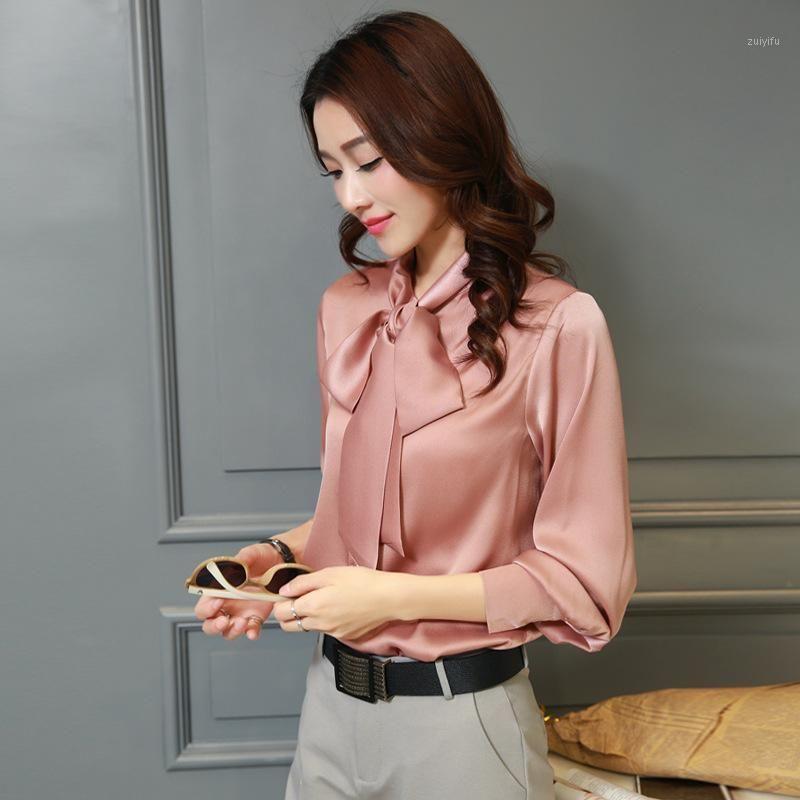 Kadınlar Ipek Bluz Saten Uzun Kollu Kelebek Yay Gömlek Kadınsı Taze Tatlı Tops Artı Boyutu 3XL1
