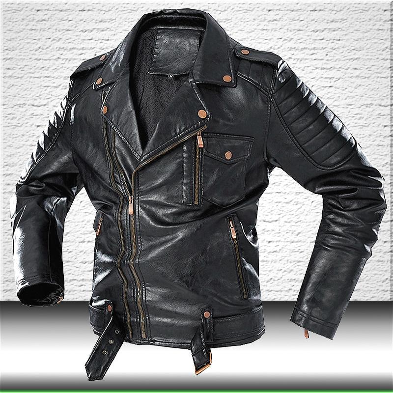 Homens Moda Leather Jacket Brasão nova marca de motocicleta Jaqueta de couro homens Faux Leather Jackets Windbreaker inverno casacos 201022
