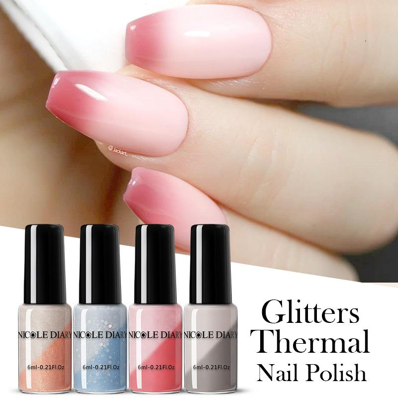 NICOLE DIARY Thermal Nail Polish Temperature Color Changing Nail Art Liquid Sparkly Shinning Manicuring Varnishes Decoration
