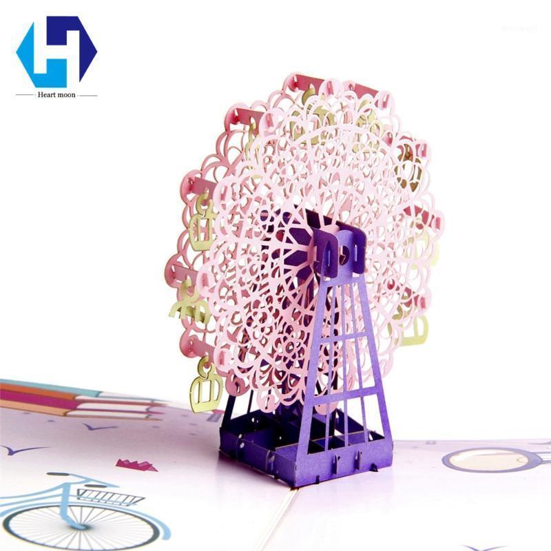 Красочная печать 3d вверх романтические неба колесо поздравительные открытки лазерные конверты открытка полые вырезанные ручной работы kirigami подарки1
