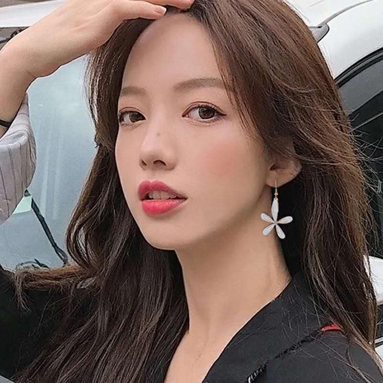 925 Silver Needle Super Fairy Glass Flower Earrings Korea Elegant All-Match Earrings Internet Celebrity Same Style Exaggerating Unique Earri