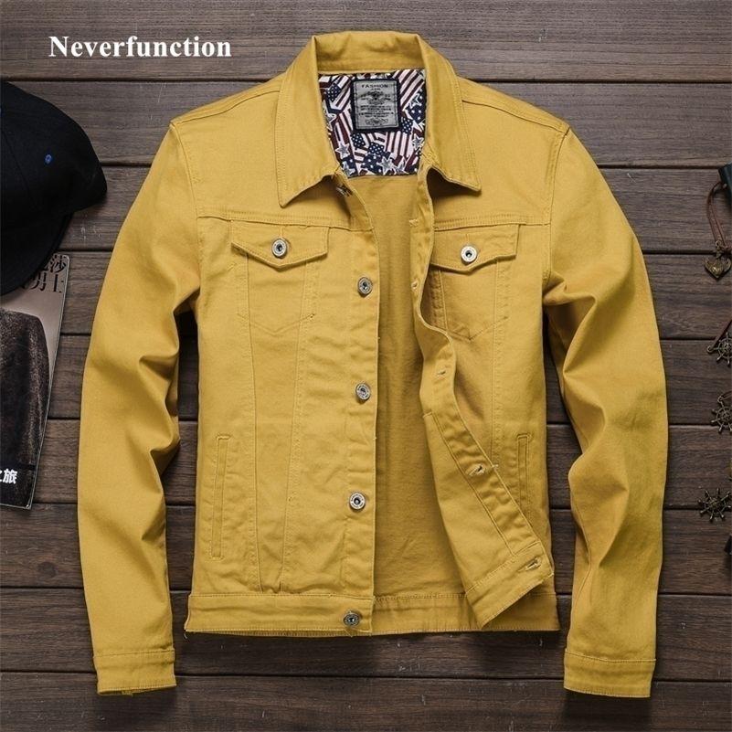Primavera autunno rosso bianco nero nero giallo esercito jeans jeans giacca uomo sottile streetwear giacca denim giacca hip hop bomber giacca homme 201127