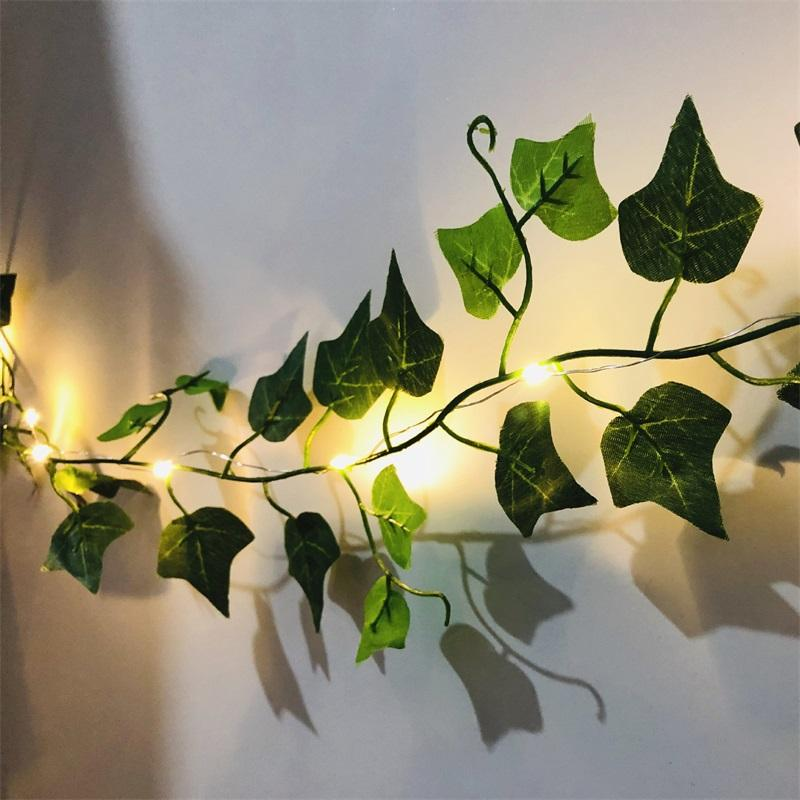 Escalada tigre lâmpada de lâmpada verde folha rattan lâmpada string casa jardim jardim decorativo venda quente 7 5JQ O2
