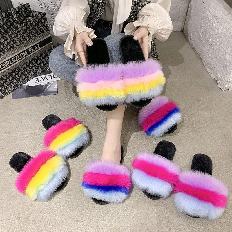 Wholesale Rainbow Color Jelly Man-made Fur Slides for Women Fluffy Simple Stripe Ladies Slippers Retro Style Casual Home Wears Slippers
