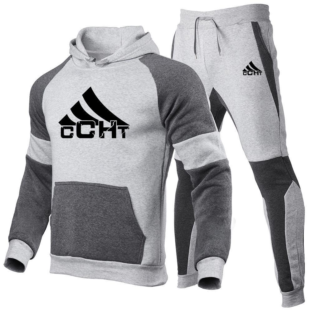 Primavera e autunno Brand Casual Suit Maglione da uomo Maglione moda stampa stampa 2 pezzi con cappuccio giacca cucitura + pantaloni sportivi