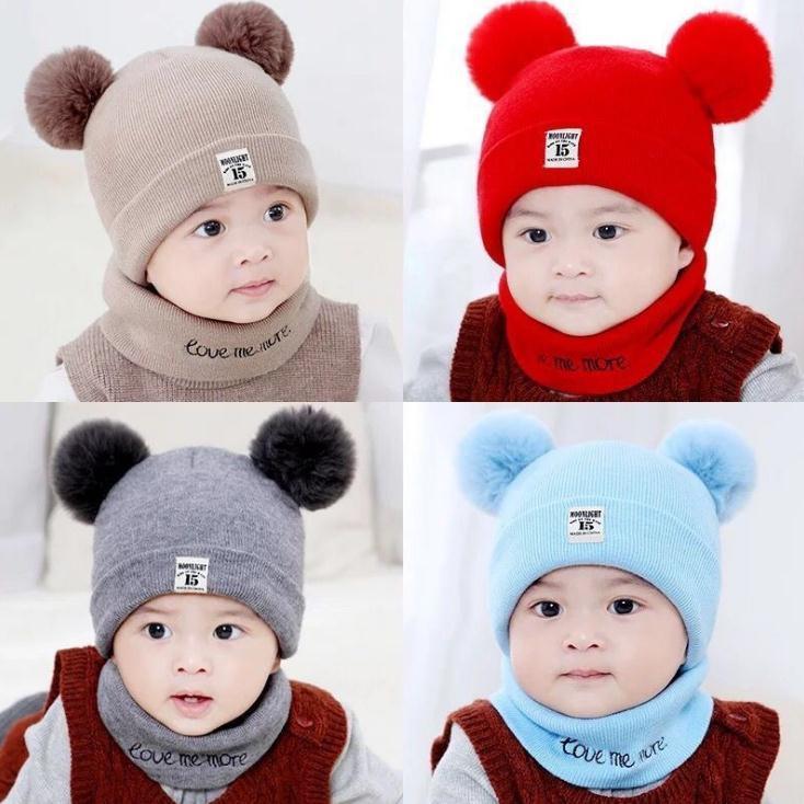 6 개 색상 어린이 모자 스카프 세트 2 개 / 세트 패션 아기 야외 여행 겨울 따뜻한 니트 비니는 아이 소프트 스카프 모자