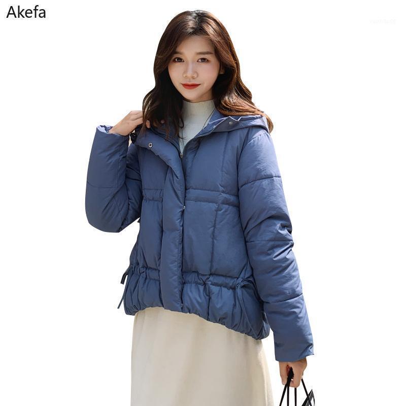 2021 Chaqueta suelta de invierno Mujer de algodón acolchado de algodón, talla de soporte con capucha collar sólido casual mujer parkas abrigo femenino chaqueta mujer1