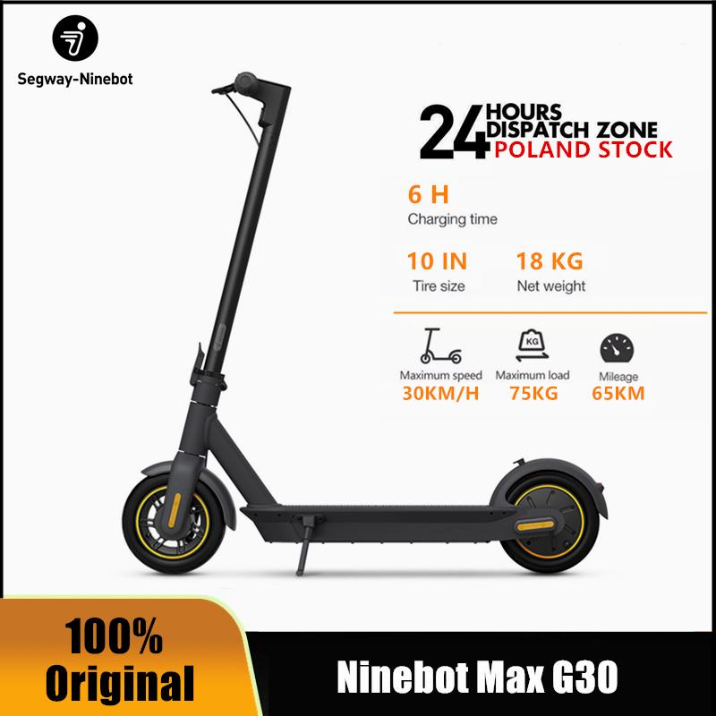 EU STOCK Original Ninebot by Segway MAX G30 Smart Electric Scooter foldable 65km Max Mileage KickScooter Dual Brake Skateboard G30P With APP