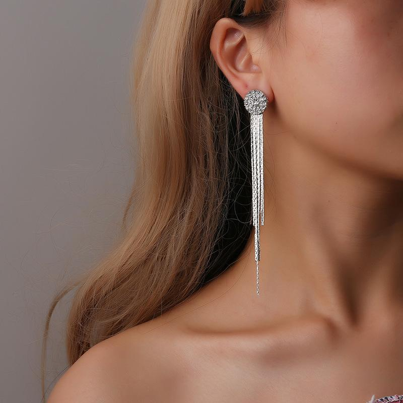 European and American fashion crystal claw chain diamond sun flower earrings temperament long tassel earrings bridal dress accessories