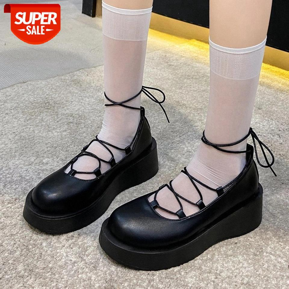 Ribetrini pour Dropship Girl Solid Dacette Plateforme à lacets Marry Janes Chaussures Femmes Pompes Croîchements Cosplay Loisirs Pompes décontractées # VX1J