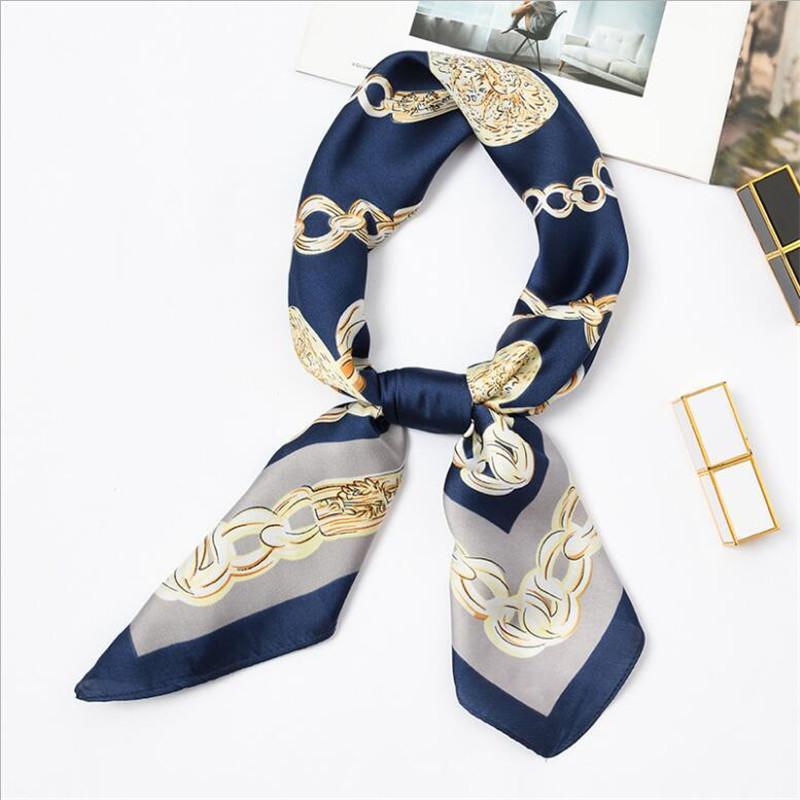Nuevo 70x70cm mujeres multifunción poliéster seda bufanda elegante cadena impresa satén pequeñas envolturas cuadradas bufandas chal diademas corbatas