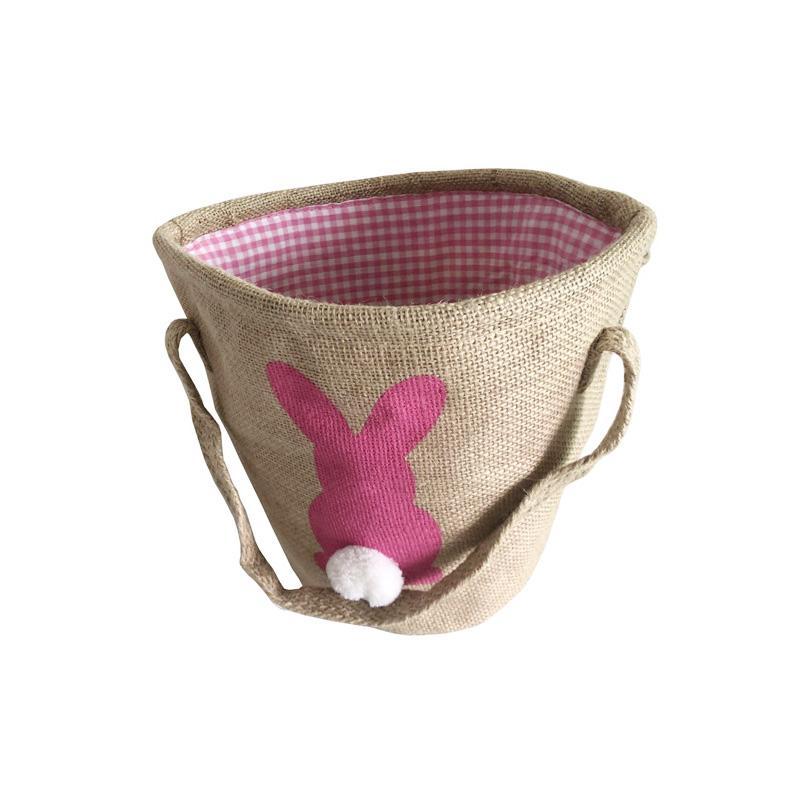 Hot sale DIY Rabbit tail Burlap Bags Easter Rabbit ear Basket Easter Bunny Bags Rabbit Printed Canvas Tote Bag Egg Candies Baskets
