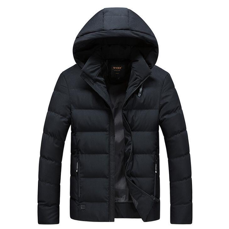 Moda Hombres -40 Grados Rusia Clima frío Impermeable Nieve Invierno Parkas Abrigos Casual Snow Chaqueta con capucha 0607-002